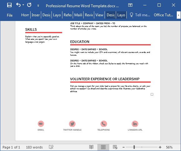 Resume template for Word 2016