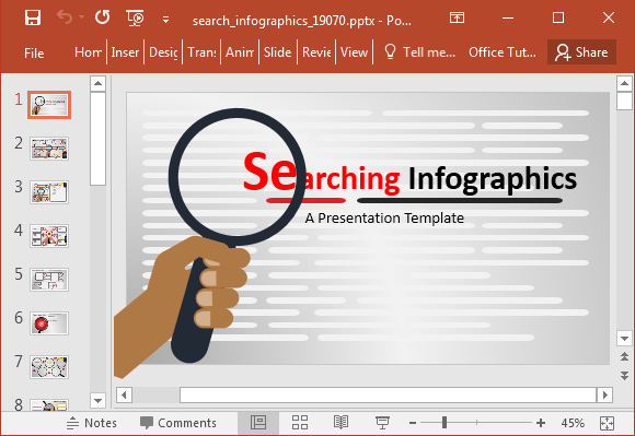 Searching infographics PowerPoint template
