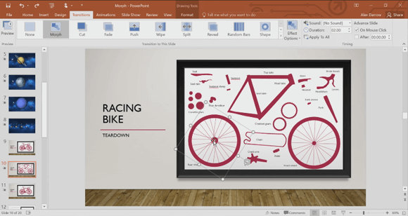 Using Morph in PowerPoint 2016