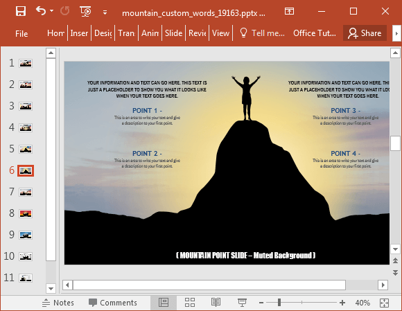 Animated mountain PowerPoint template