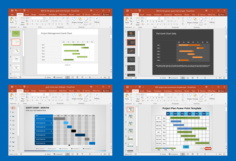 best gantt chart & project management powerpoint templates, Powerpoint templates