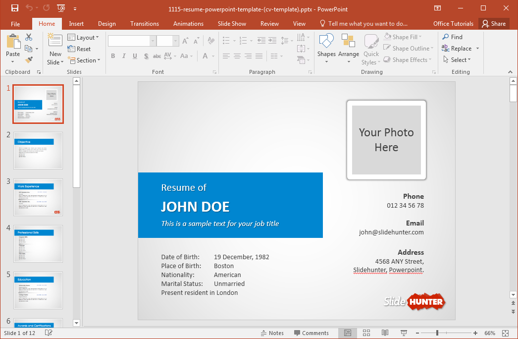 How to make a resume in powerpoint toneelgroepblik Images