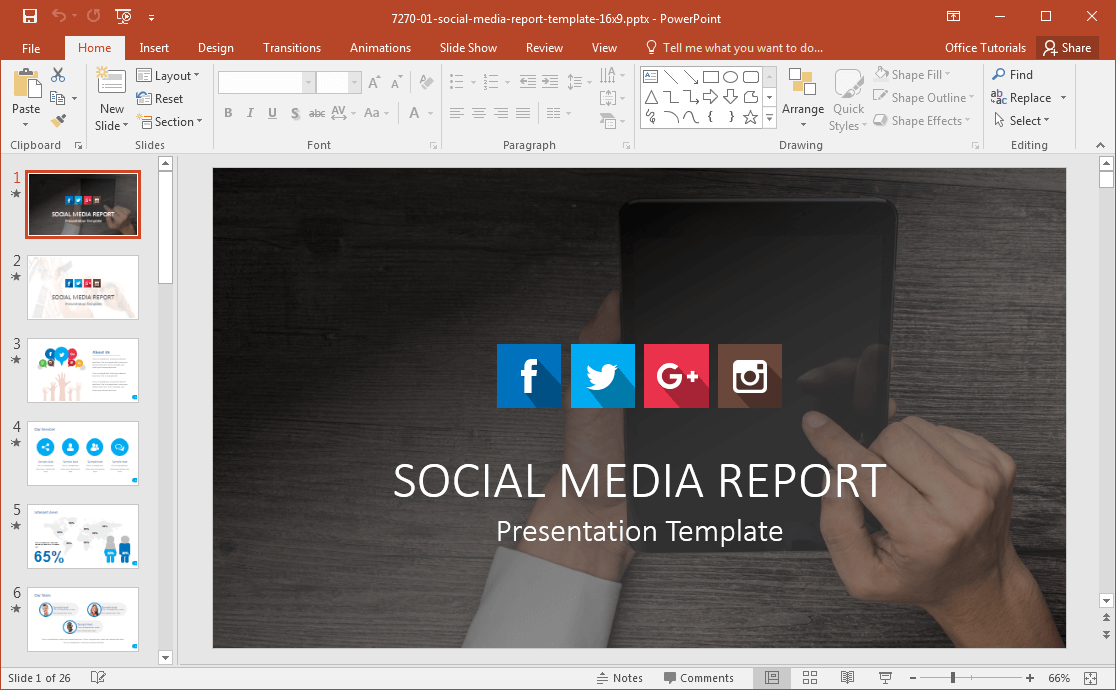 Media PowerPoint Template - Social media report template
