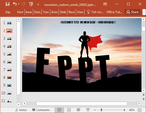 Animated words on a mountain powerpoint template superhero slide design toneelgroepblik