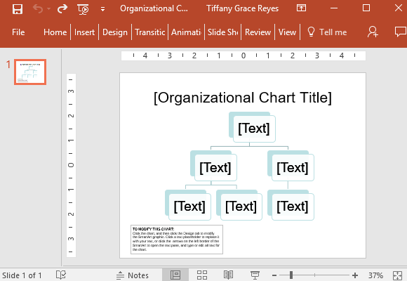 Organizational Chart Title Slide For Powerpoint