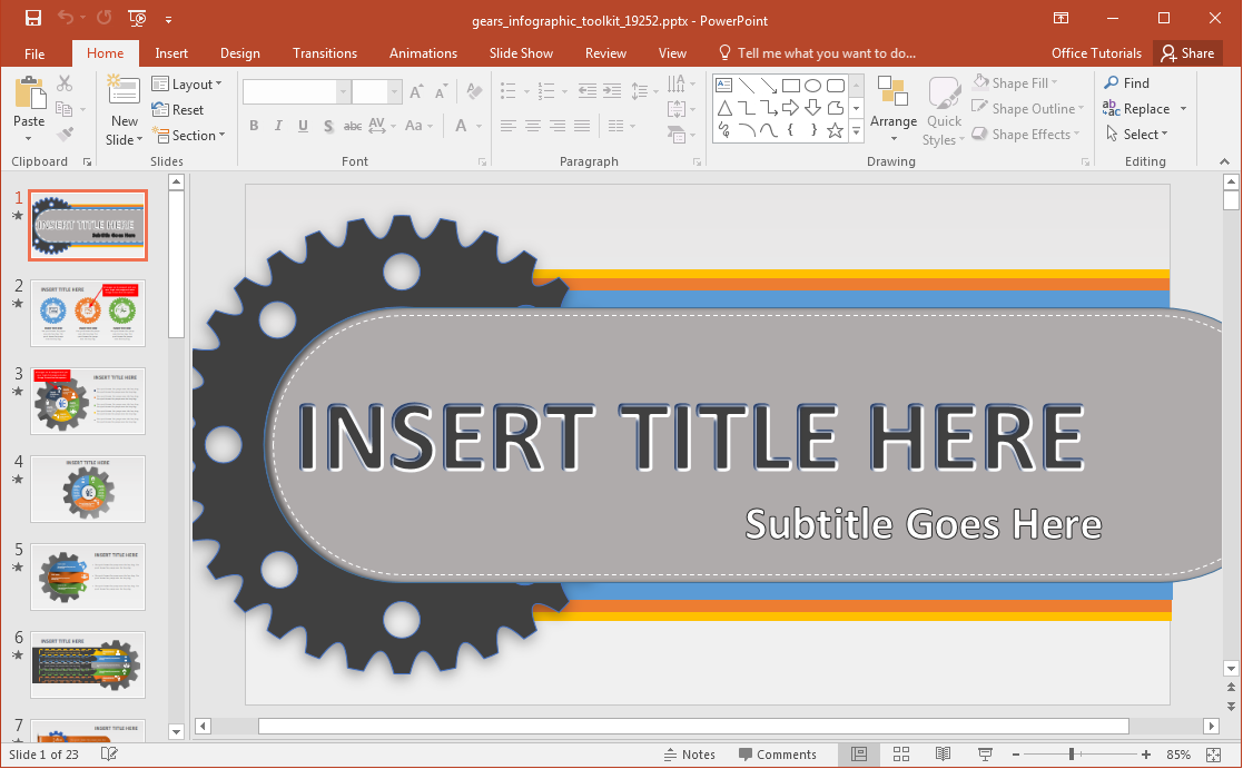 Animated Gears Infographic Powerpoint Template