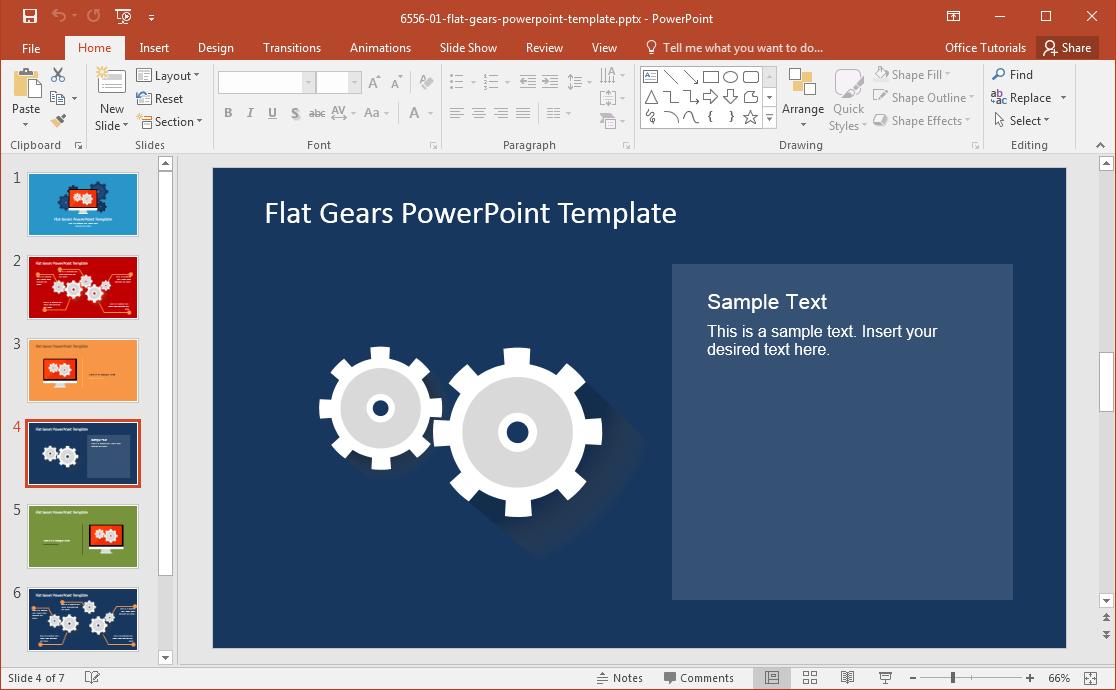 modern flat gears powerpoint template