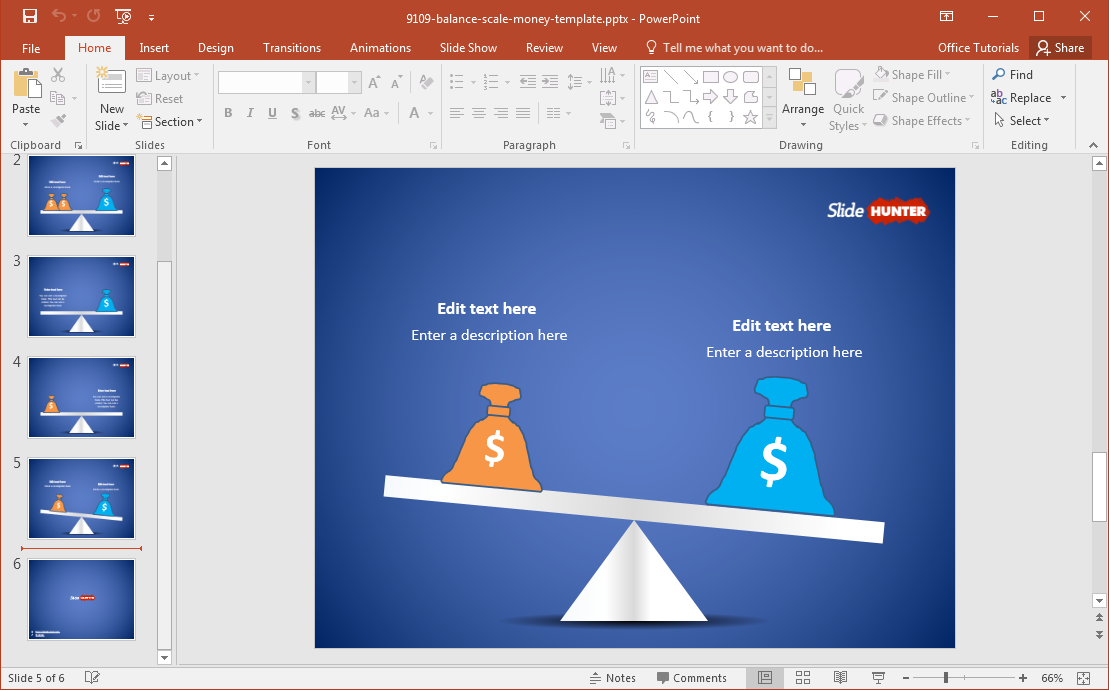Free Balance Scale With Money Bags Powerpoint Template