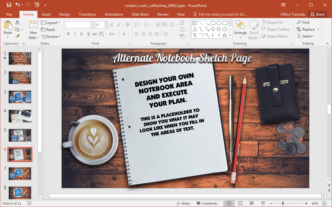 animated modern rustic coffee shop powerpoint template. Black Bedroom Furniture Sets. Home Design Ideas