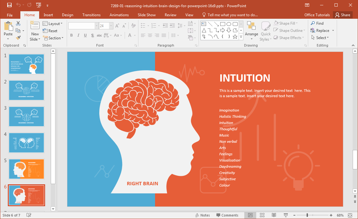 Left brain vs right brain powerpoint template right brain toneelgroepblik Choice Image