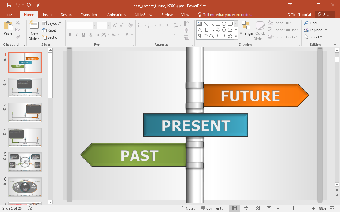 interactive past present future powerpoint template, Modern powerpoint