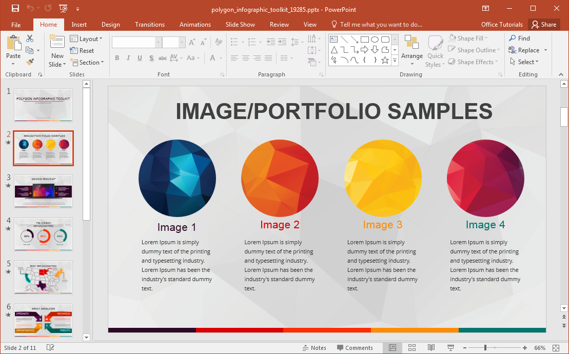 Animated polygon infographic template for powerpoint for Sports infographics templates