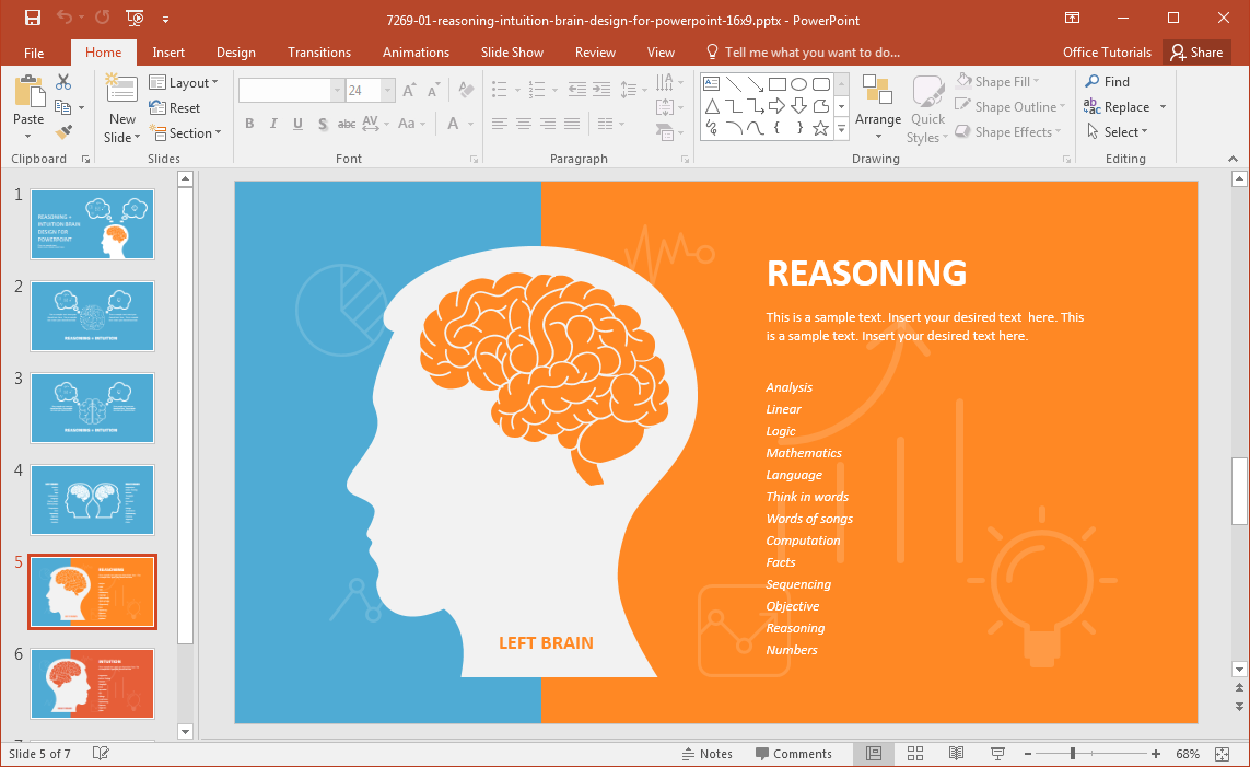 Left Brain Vs Right Powerpoint Template Simple Diagram Clipart Best