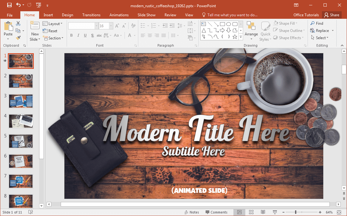 animated modern rustic coffee shop powerpoint template, Modern powerpoint