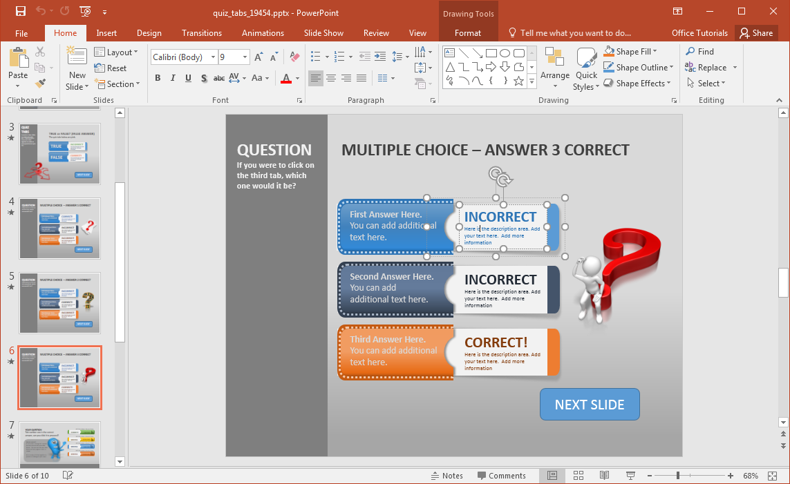 Create a quiz in powerpoint with quiz tabs powerpoint template create powerpoint quizzes alramifo Image collections