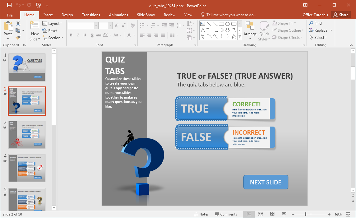 create a quiz in powerpoint with quiz tabs powerpoint template, Modern powerpoint