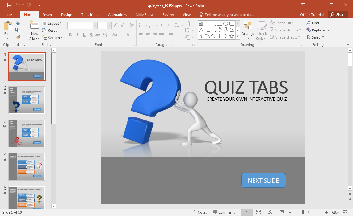 Create a quiz in powerpoint with quiz tabs powerpoint template for Powerpoint questions and answers template