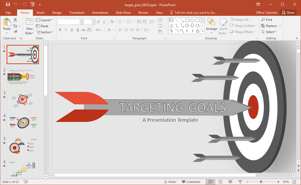 animated target goal powerpoint template, Modern powerpoint