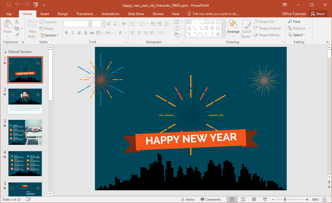 animated happy new year city fireworks powerpoint template, Powerpoint templates