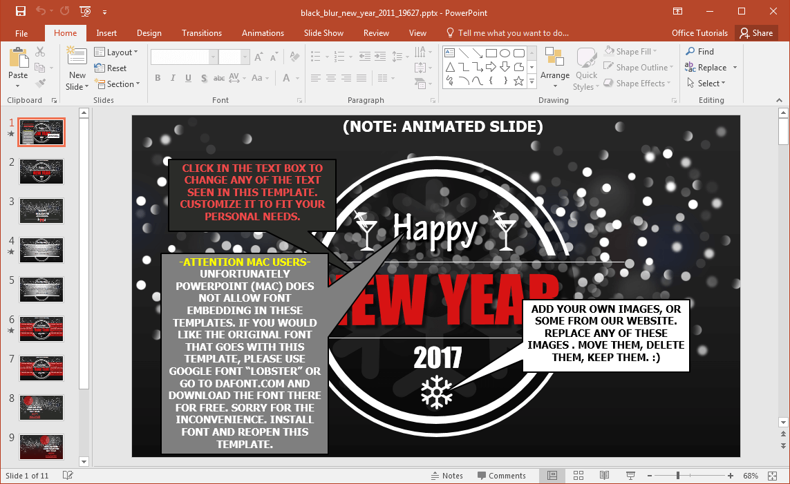 animated black blur new years powerpoint template, Modern powerpoint
