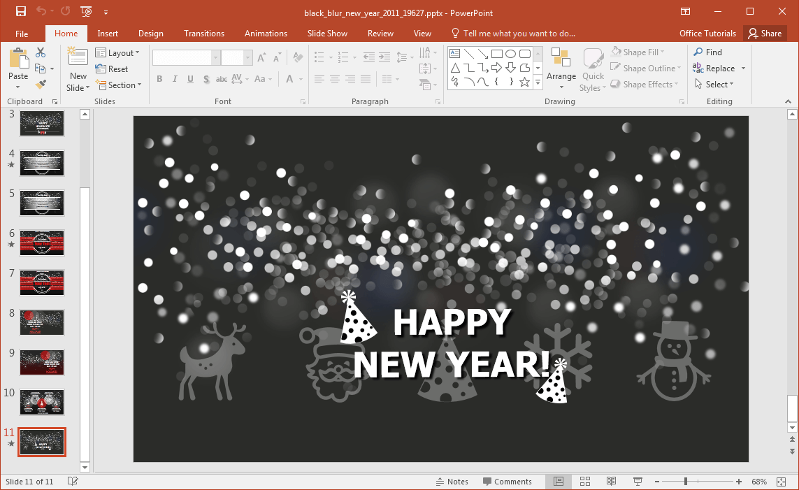 animated black blur new years powerpoint template