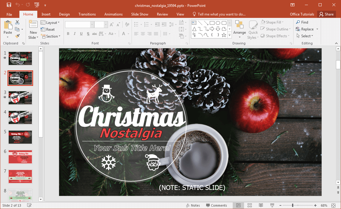 animated christmas nostalgia powerpoint template, Modern powerpoint