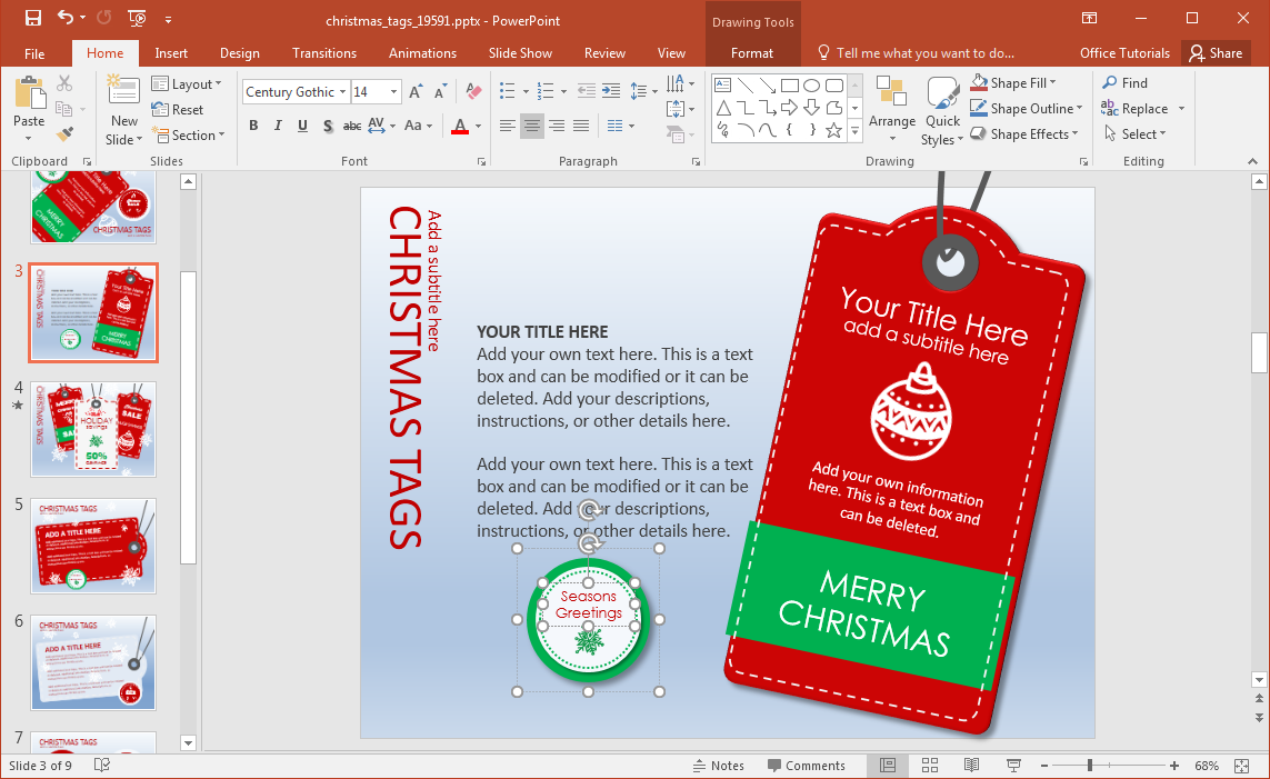 animated christmas tags powerpoint template, Presentation templates