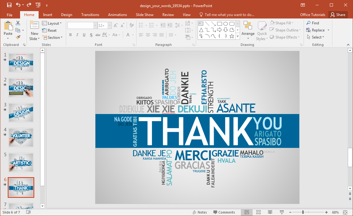 Animated design your words powerpoint template for How to create power point template