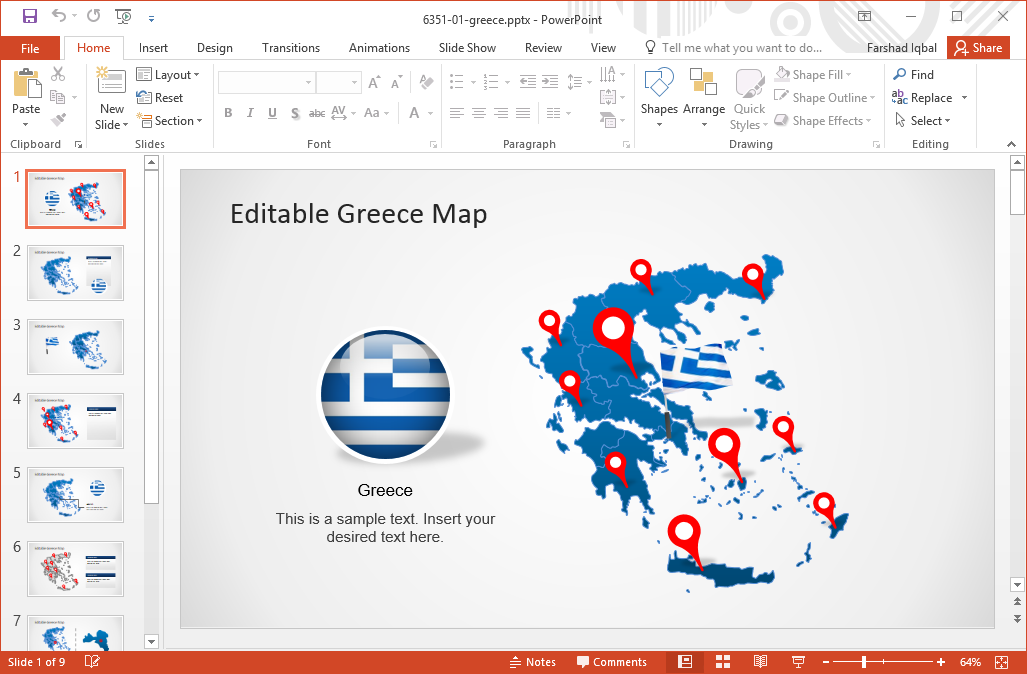 editable-greece-map-for-powerpoint