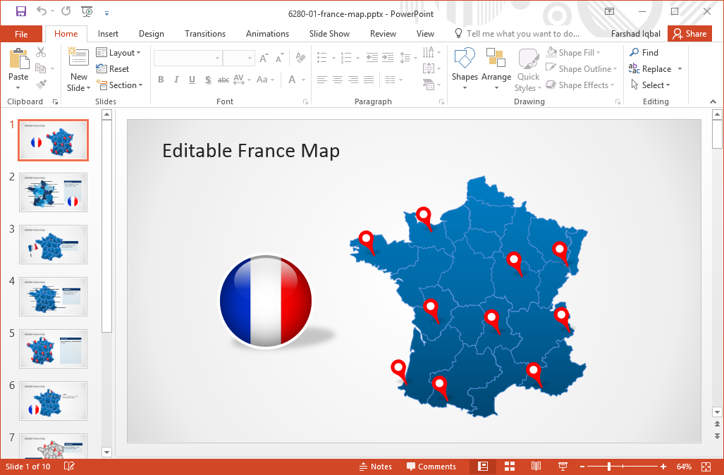 editable-map-of-france-for-powerpoint