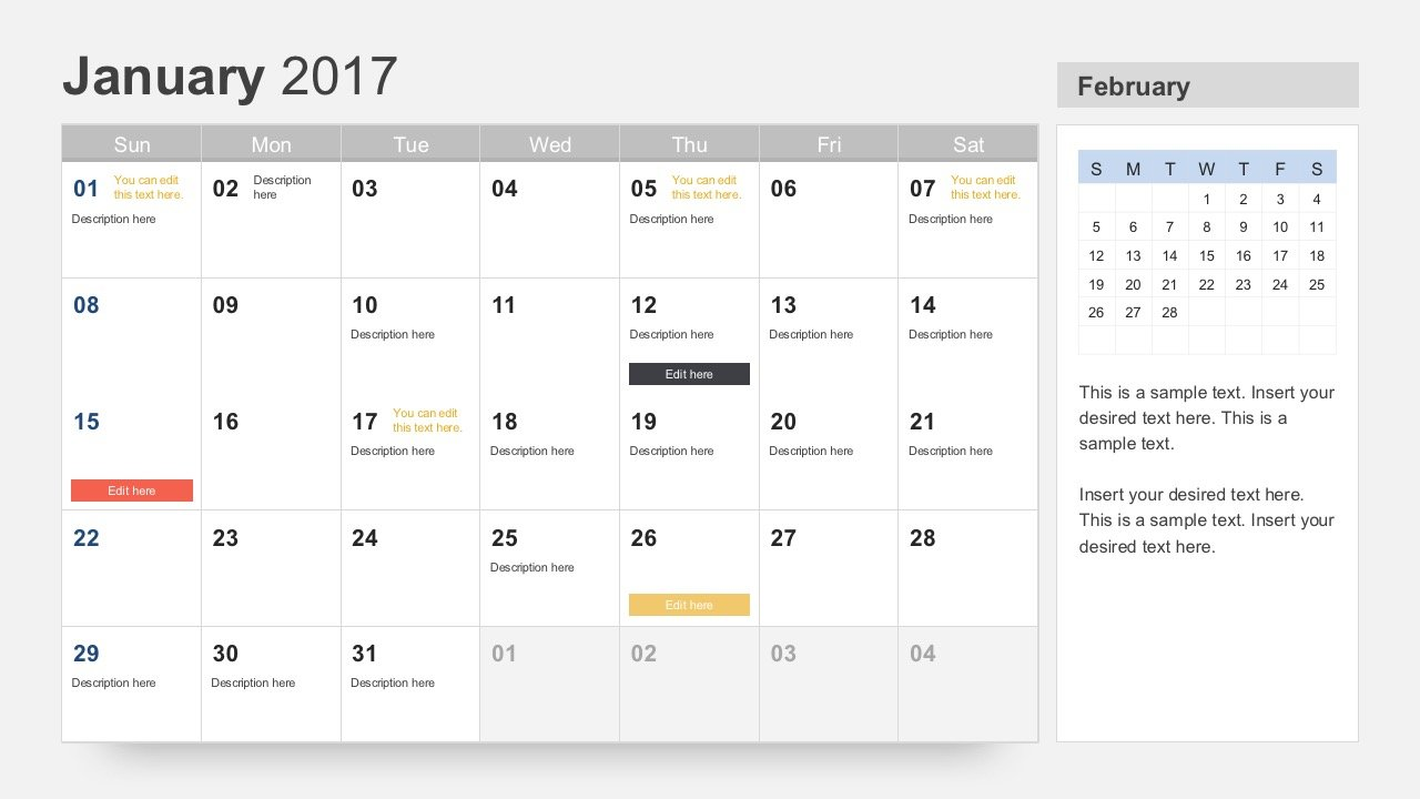 calendar 2017 template for powerpoint, Modern powerpoint