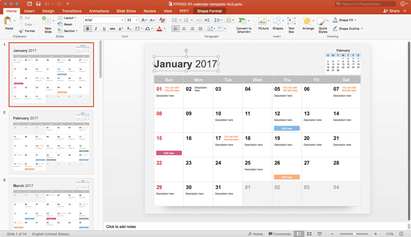 Free calendar 2017 template for powerpoint free calendar template toneelgroepblik Image collections