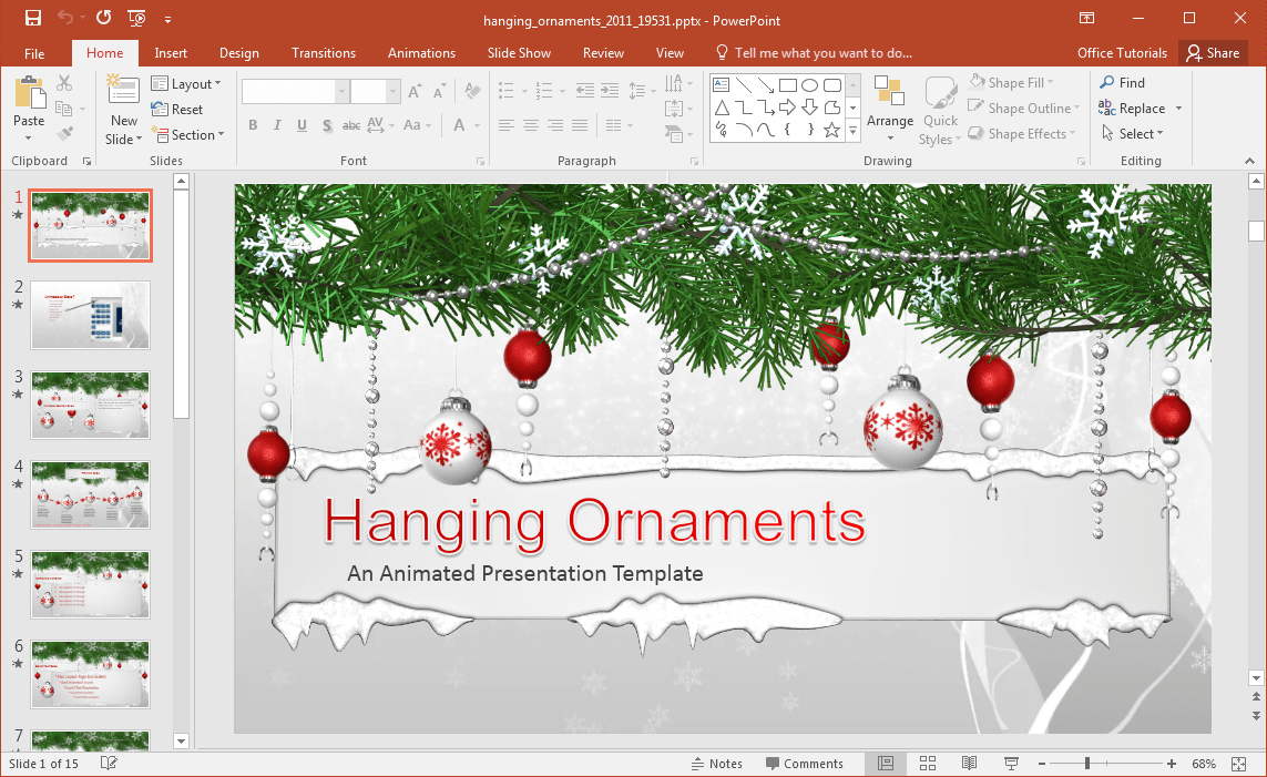 Animated hanging ornaments powerpoint template hanging ornaments powerpoint template christmas themed layouts toneelgroepblik Gallery