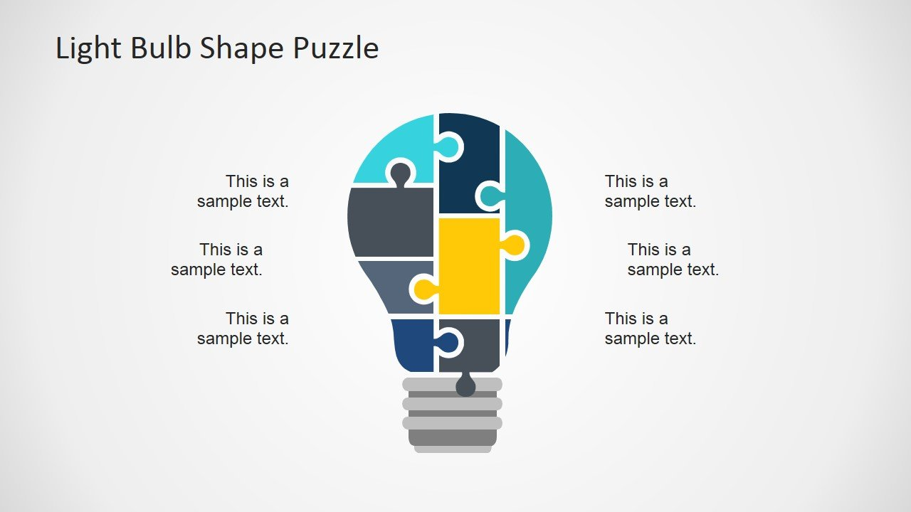 How to draw a light bulb in powerpoint light bulb puzzle powerpoint template toneelgroepblik Choice Image