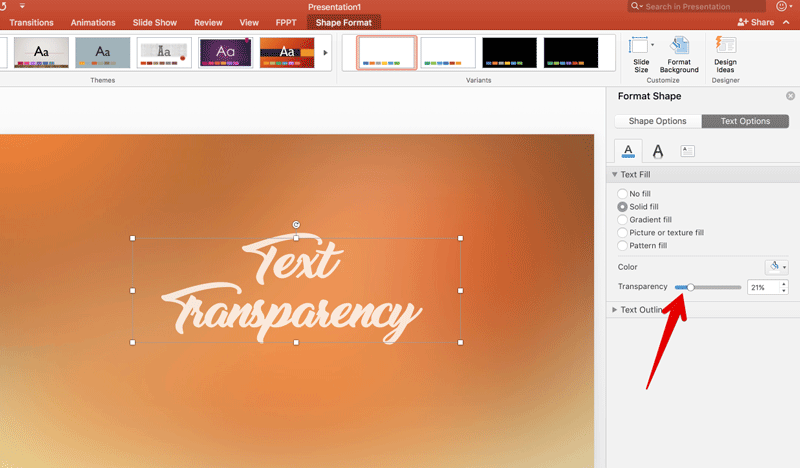 Apply transparency to text in PowerPoint
