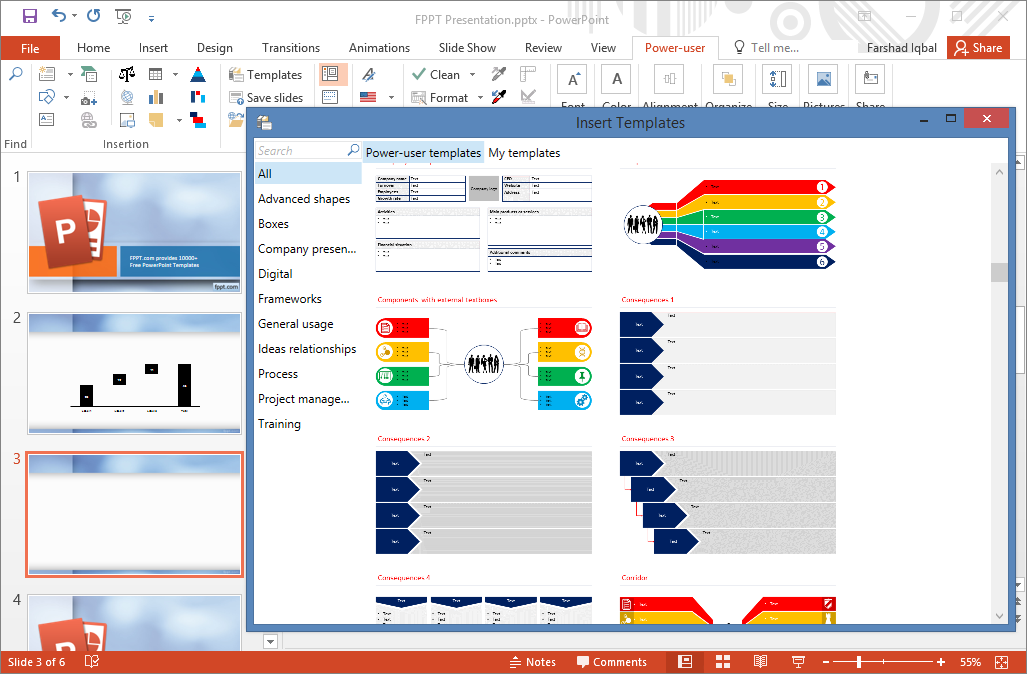 Make powerpoint more powerful with power user add in to explore the available slides head over to the reuse menu and go to templates to pick and choose from a plethora of modern ui like slide designs toneelgroepblik Choice Image