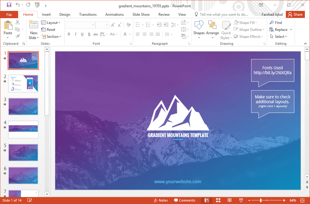 Animated Gradient Mountains Powerpoint Template