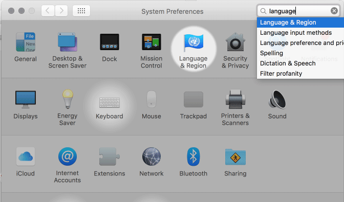 Language And Region Preferences In System Preferences (Mac)