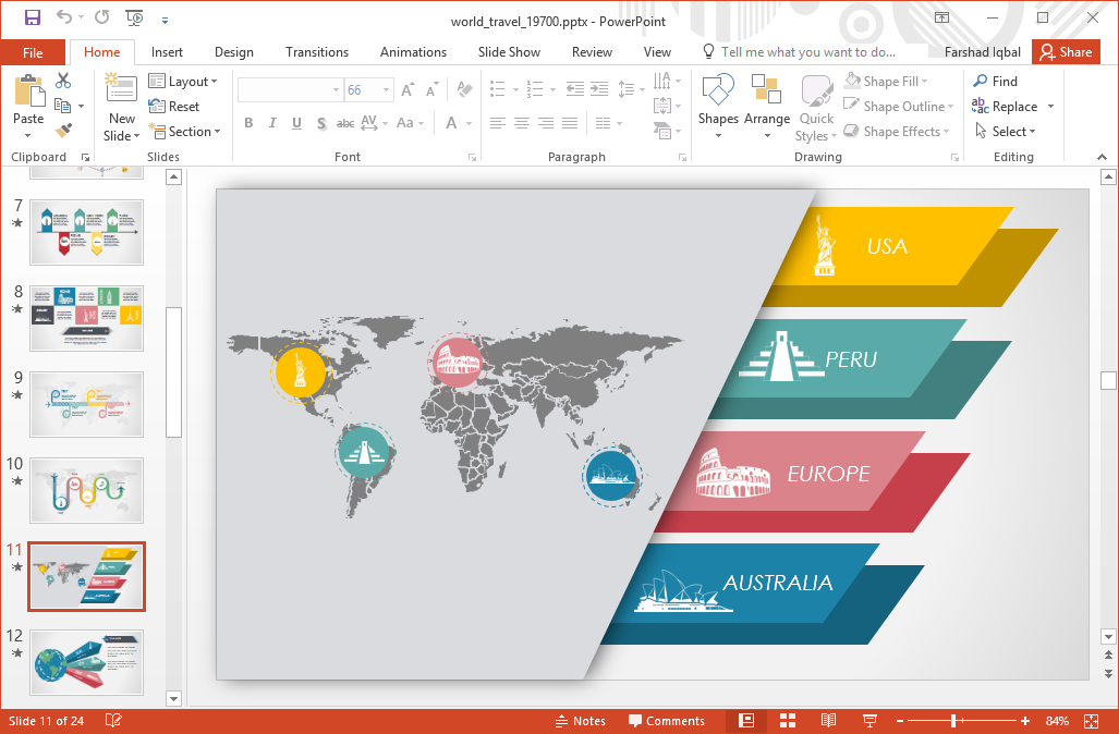 animated world travel powerpoint template, Powerpoint templates