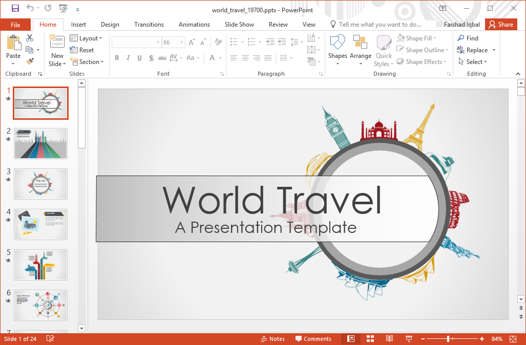 Animated world travel powerpoint template create animated infographic slides toneelgroepblik Choice Image