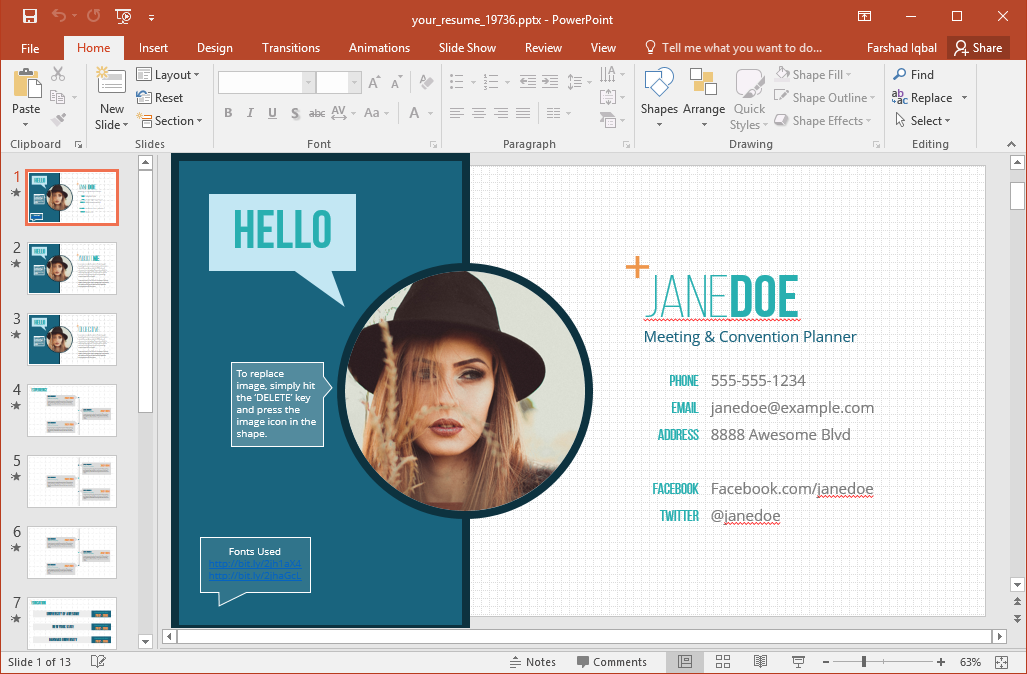 Free PowerPoint Templates For Powerpoint Resume