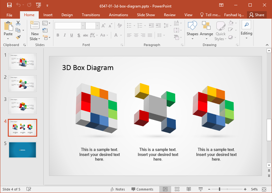 3D Box Diagram Template For PowerPoint