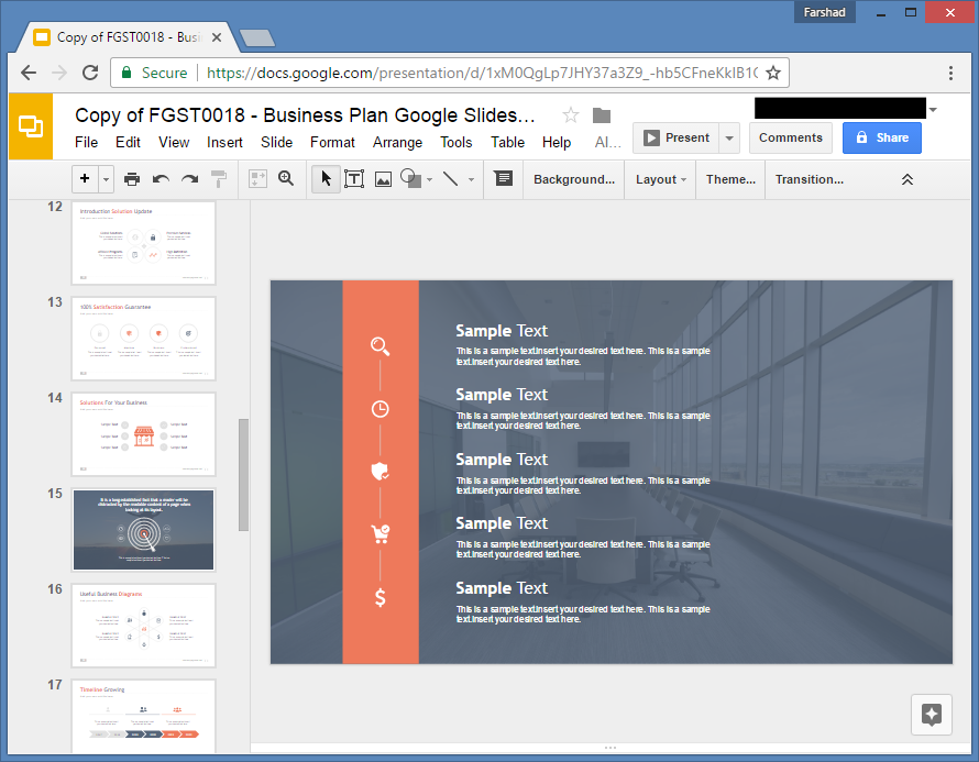 Create a list in Google Slides