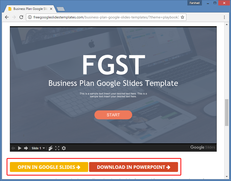 Free Business Plan Template For Google Slides