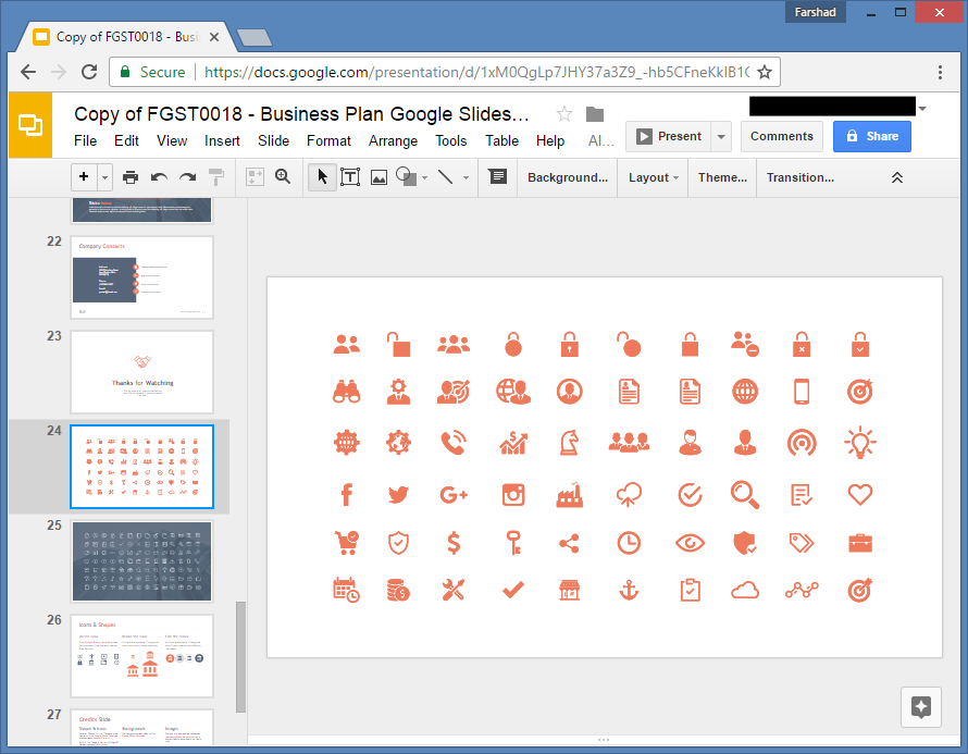 Icon set for Presentations in Google Slides