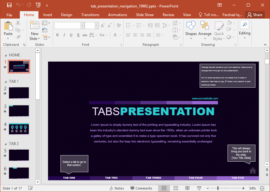 interactive tabbed presentation template for powerpoint, Interactive Presentation Template, Presentation templates