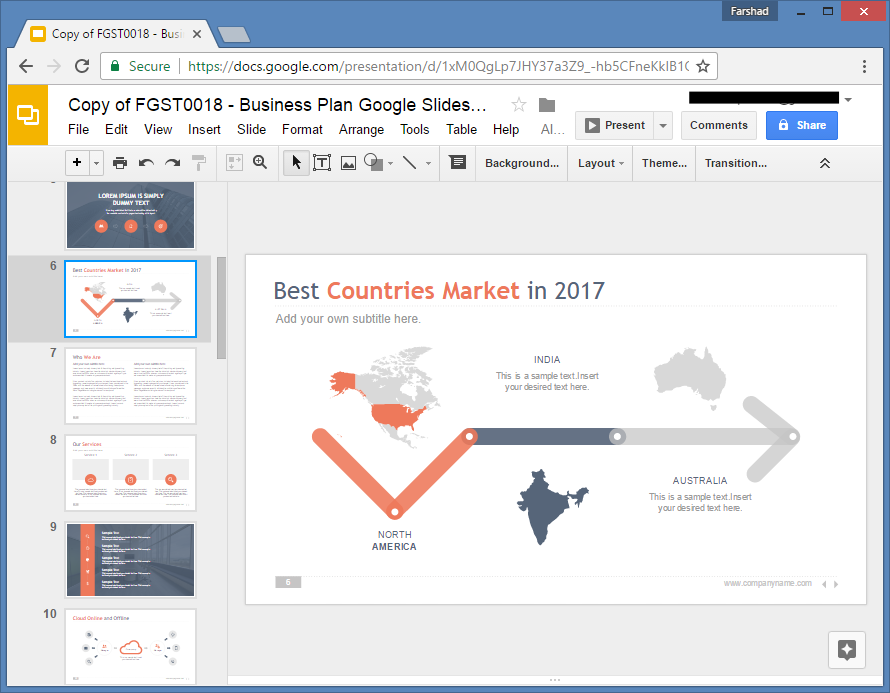 Map Slide for Google Slides