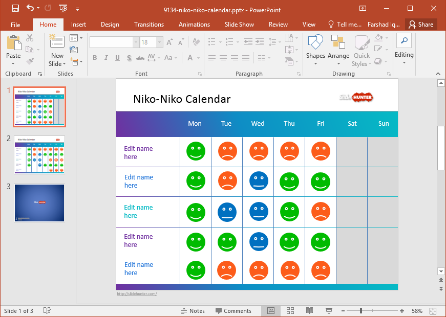 Calendar Design Powerpoint : Free mood calendar powerpoint template
