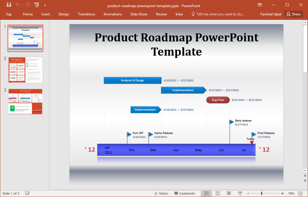 free product roadmap presentation slides - Free Roadmap Template