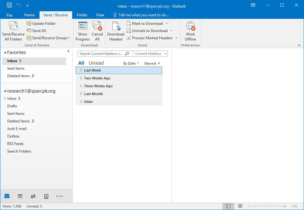 how to stop synchronizing folders in outlook 2016